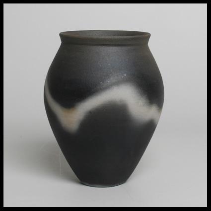 John Leach Vase Black Smoke Ware With White Shadow Markings