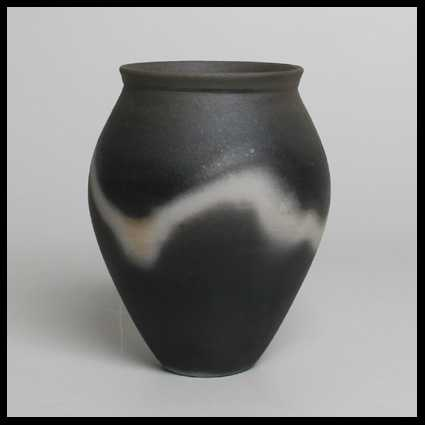 John Leach Vase Black Smoke Ware With White Shadow Markings